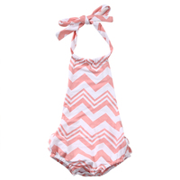 Cute Newborn Infant Baby Girls Cotton Waves Pink Romper Jumpsuit Sunsuit Outfits Clothes