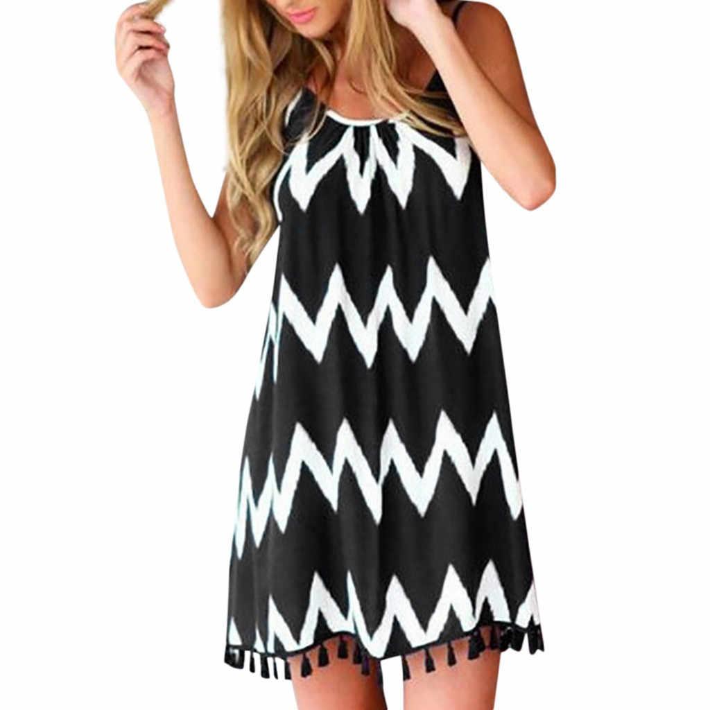 Женское платье Летнее пляжное сексуальное платье с волнистым узором и кисточками в стиле бохо платье на бретелях без рукавов праздничное платье Сарафан Vestidos 2019 #