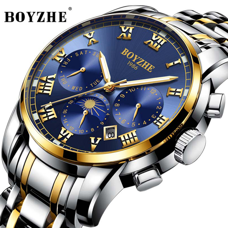 New Mens Watches Top Brand Luxury Automatic Mechanical Watch Men Waterproof Full Steel Moon phase Watch Male Relogio MasculinoNew Mens Watches Top Brand Luxury Automatic Mechanical Watch Men Waterproof Full Steel Moon phase Watch Male Relogio Masculino
