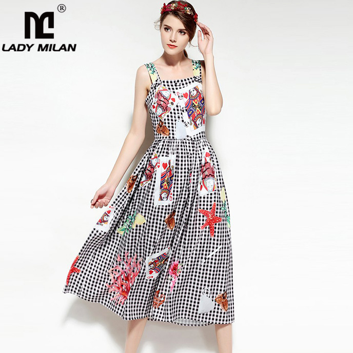 New Arrival 2018 Spring Summer Womens Sexy Spaghetti Straps Characters Printed Plaid High Street Casual Mid Calf Dresses