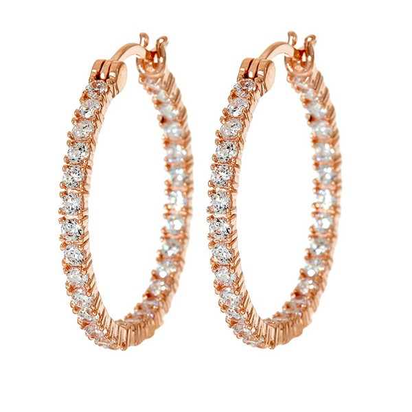 D/vvs1 1 Inside Out Hoop Earrings, Sterling Silver Or Rose Gold-colored Finish inside out