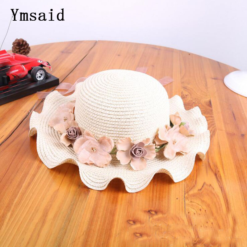 2018 Girls Summer New Hats New Straw Baby Sun Hat With Flowers Kids Summer Hat Wave Brim Sunbonnet Children Straw Hats