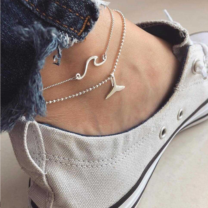 Fish Anklets Women Long Chain Leg Bracelets Fashion Jewelry Accesspries Female Beach Ankle Decorations Stainless Steel Anklet in Anklets from Jewelry Accessories