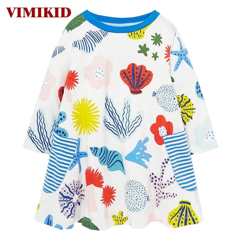 VIMIKID Dívčí šaty Dětské oblečení Značka Podzimní šaty princezny Baby Tunika oceán Zvířecí potřeby Dívky Šaty Děti k1 k2