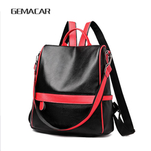 New Women Backpack Female College Style Classic Design Elegant Lady PU leather Bagpack Large capacity Black Red