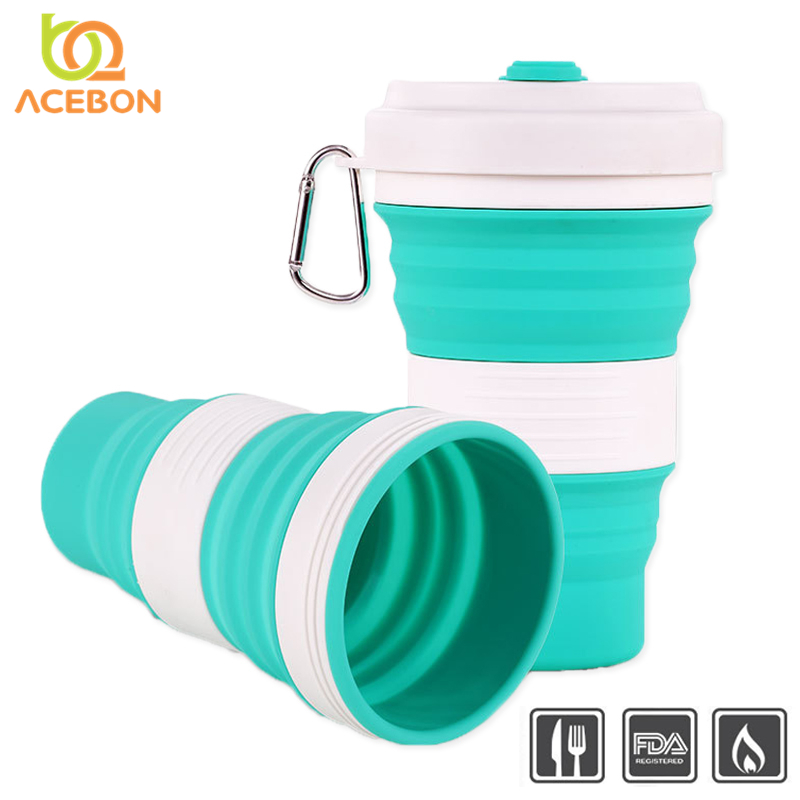 550ml Folding Silicone 5 color Portable Silicone Telescopic Drinking Collapsible coffee cup folding silica cup with
