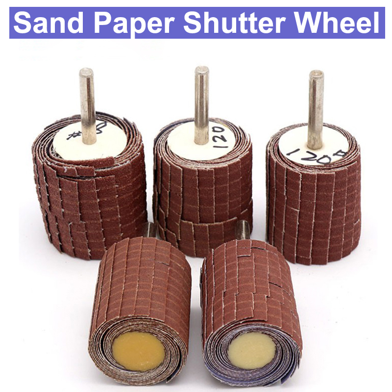 1pc Mandrel 10pcs Flap Wheel Brushes Emery Cloth Abrasive Sandpaper Grinding Compatible for Woodworking Disc 20mm 120#