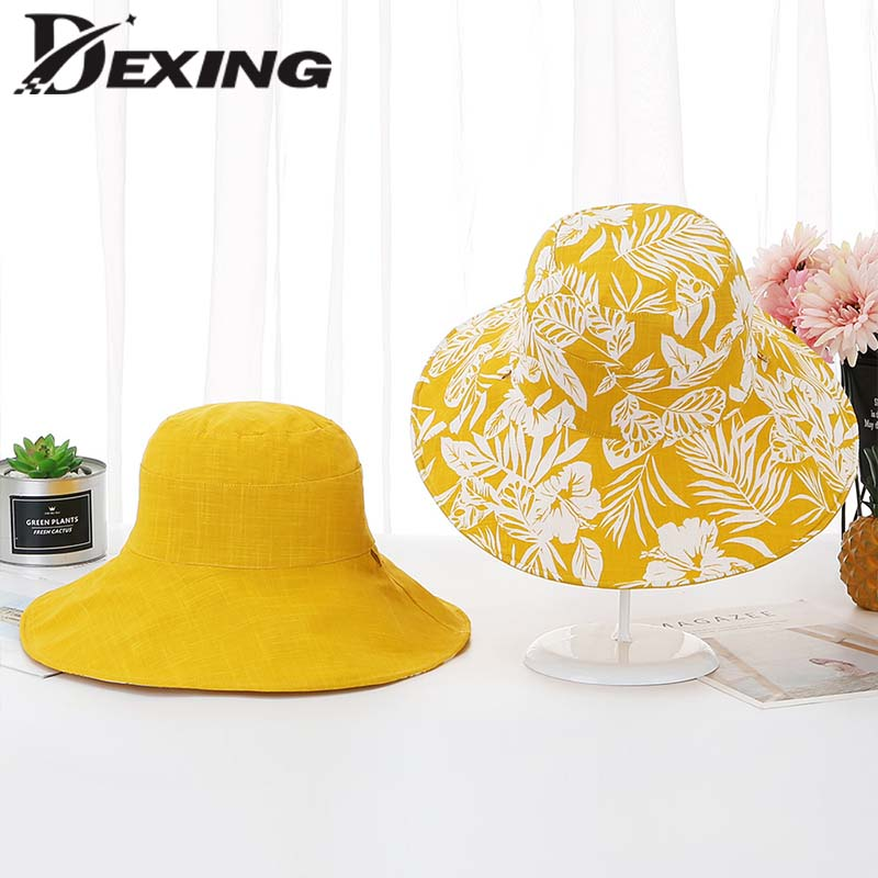 bfb5759d82c2ce Summer hat Womens two sided Cotton Flower Wide Brim Sun Hats for Women  Foldable Vacation beach