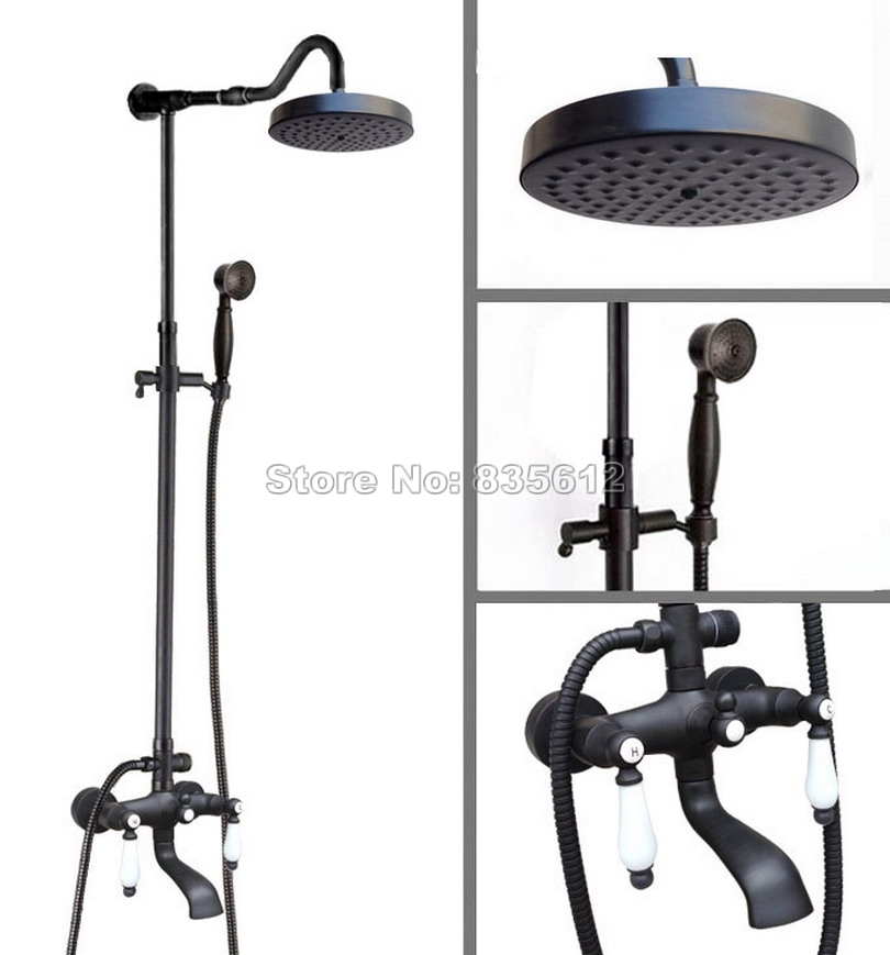 Wall Mounted Bathroom Classic Black Oil Rubbed Bronze Rain Shower ...