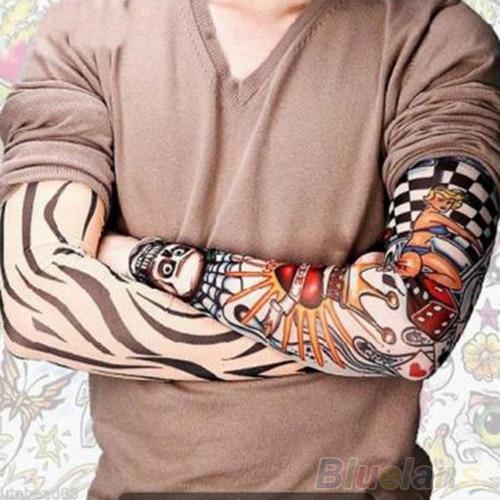 Hot 6 Pcs/lot Men Sleeves Fashion Temporary Fake Slip On Fake Tattoo Arm Sleeves Kit   Sleeves 0JAS