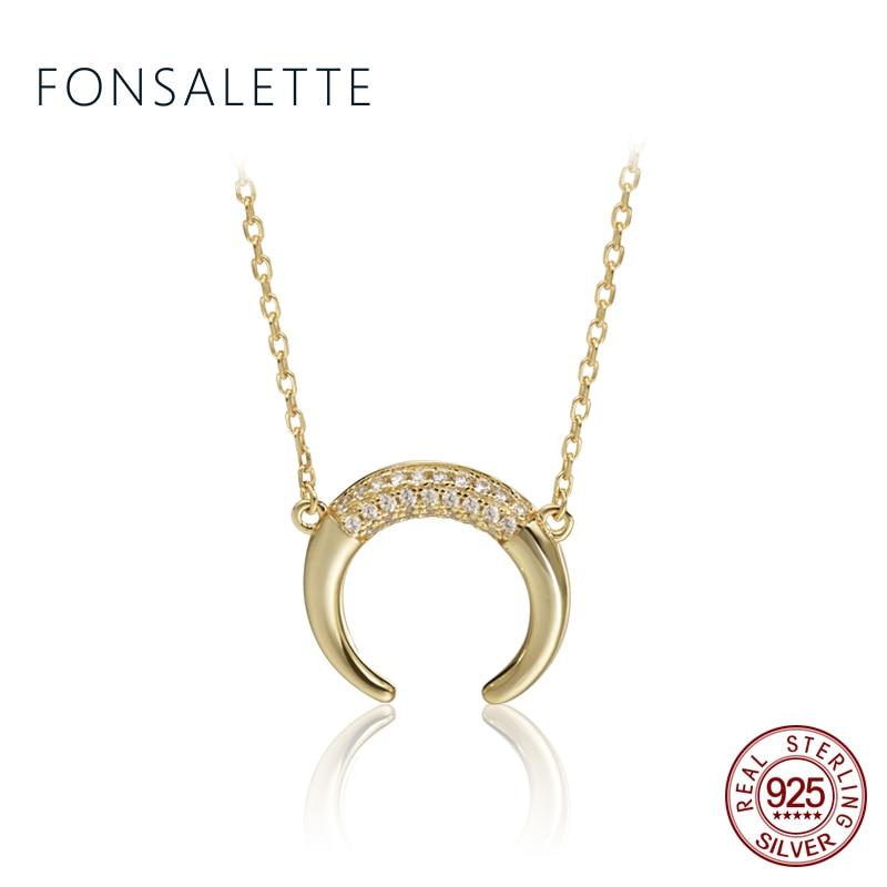 925 пробы серебряный кулон Рог Цепочки и ожерелья s половина полумесяц Цепочки и ожерелья Готический Круглый CZ для женщины ювелирные изделия