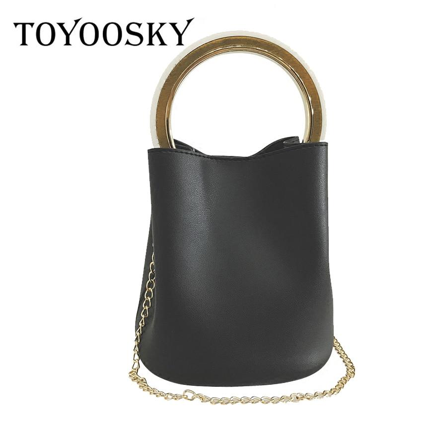 TOYOOSKY Luxury Handbags Women Bag Famous Metal handle Shoulder Bag Female Vintage Crossbody Bucket Bag PU Leather with Purse