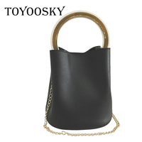 TOYOOSKY Luxury Handbags Women Bag Famous Metal handle Shoulder Bag Female Vintage Crossbody Bucket Bag PU Leather with Purse