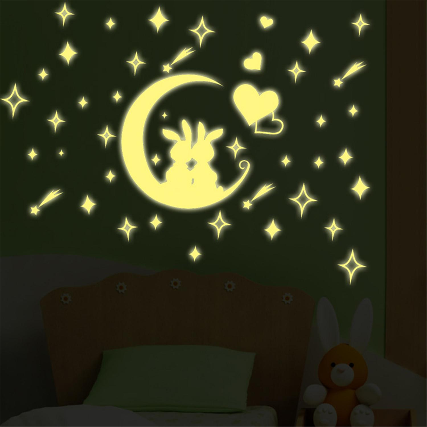 online get cheap magic wall stickers aliexpress com alibaba group 2016 new arrival creative removable childrens bedroom moon rabbit fluorescent wall sticker cartoon home decor magic