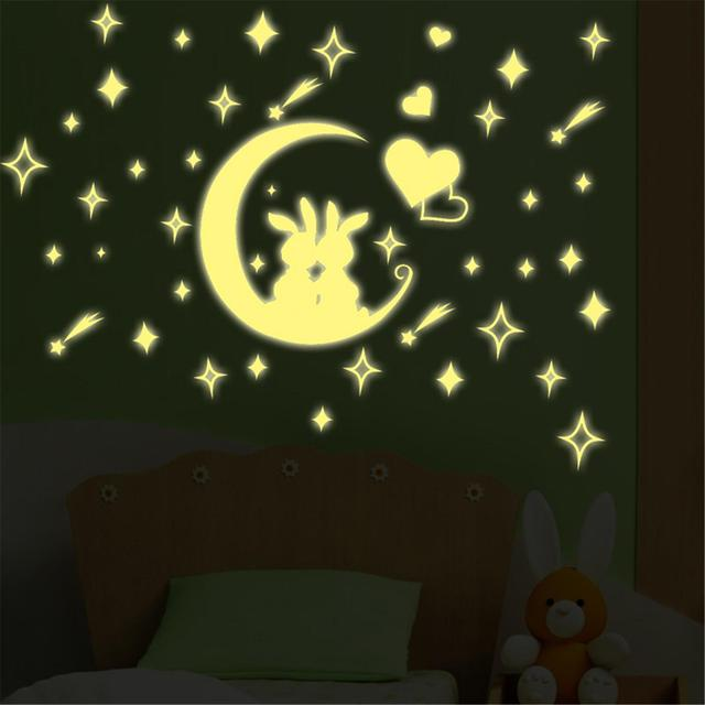 Fashion Lovely Anime Rabbit Glow In The Dark Wall Sticker Noctilucence  Fluorescent Wall Art Bedroom Home