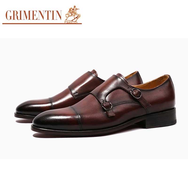 9f554a4f3 GRIMENTIN عالية الصف مخصصة للرجال أحذية الزفاف جلد طبيعي الراهب حزام الرسمي  الأعمال الرجال الأحذية