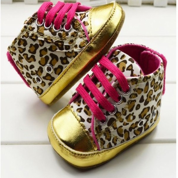 Cute First Walker Baby Girl Infant Toddler Leopard Gold Crib Shoes Sneaker Size 11 12 13