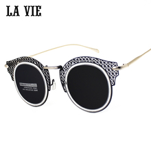 LA VIE 2016 New Steampunk Sunglasses Women Oculos De Sol Polarized Cat Eye Mirrored Lens UV400 Protection Sun Glasses For Women
