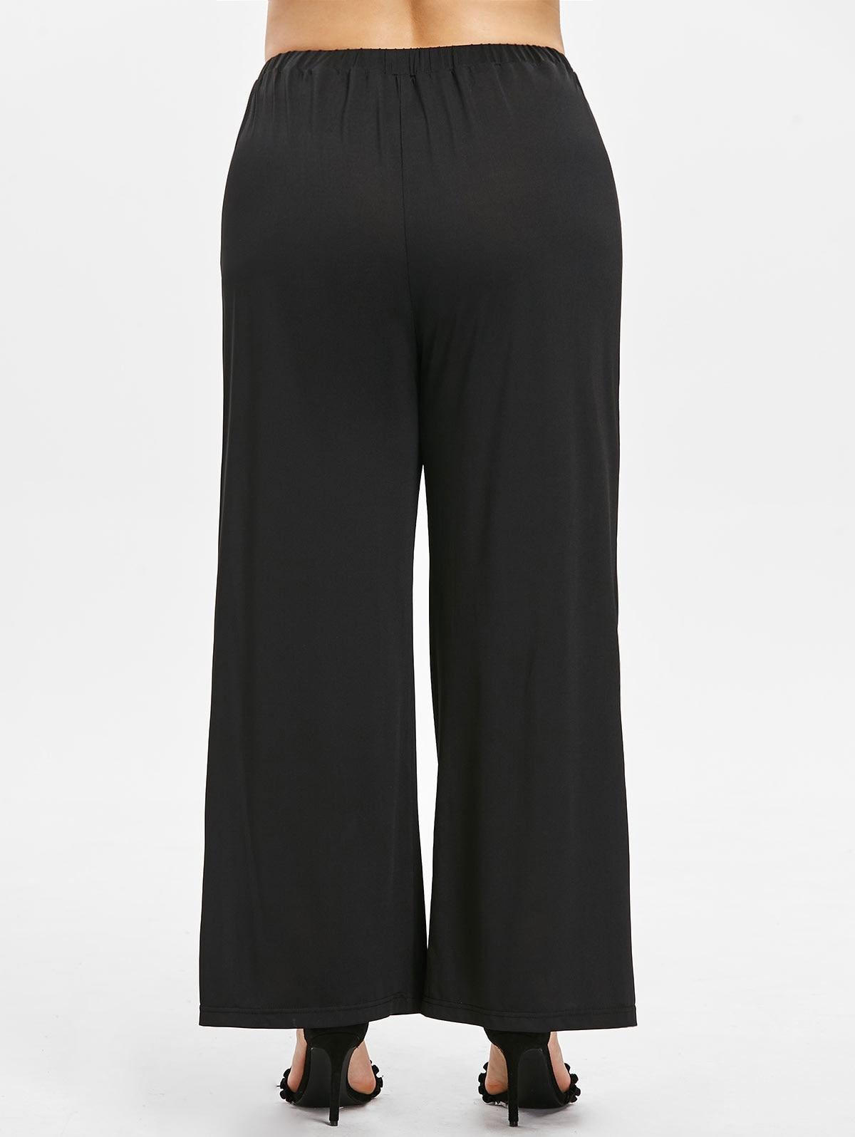 b87bf03d211 Plus Size Button Sides Wide Leg Pant Women Casual Loose Elastic Waist