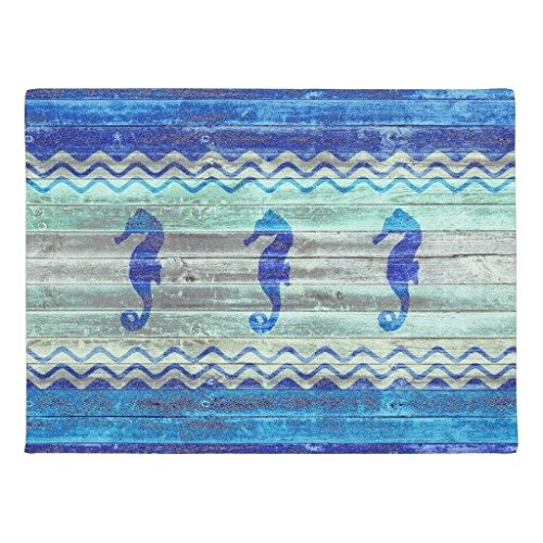 "Ailovyo Rustic Navy <font><b>Blue</b></font> Coastal Decor Seahorses Non-Slip Entry Way Outdoor Indoor Decor Rug Doormats (23.6\""X15.7\"")"