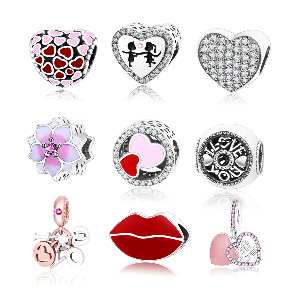 2018 Valentines Day Fits Original Pandora Charms Bracelet DIY Jewelry 925 Sterling Silver Heart/Love/Lips/Pineapple Charm Beads