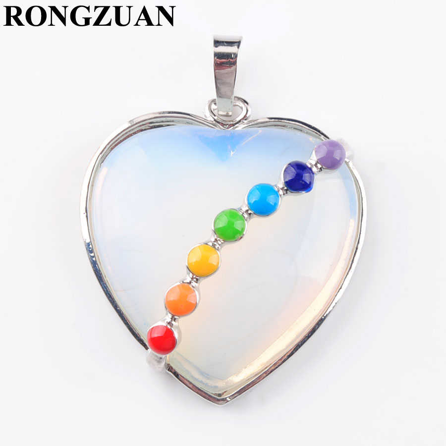RONGZUAN Free Shipping Natural Opalite Gem Stone Heart Silver Plated Healing Reiki Chakra Bead Pendant Jewelry TN3201