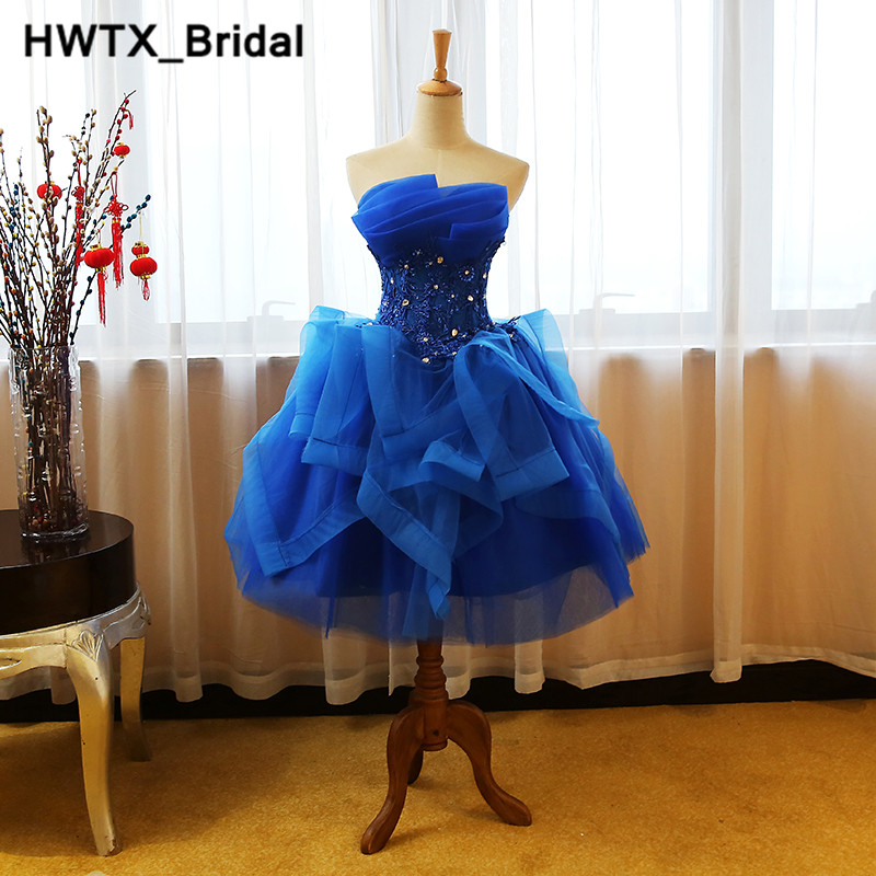 Royal Blue Short   Bridesmaid     Dresses   2018 Strapless Short Beading Lace   Dress   For Wedding Party Elegant Ball Gown Homecoming Gowns
