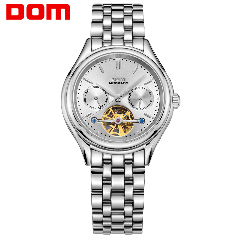 DOM Mens Watches Top Brand Luxury Mechanical Watch Men Stainless Steel Waterproof Sport Wrist Watch Relogio M 815D 7M-in Mechanical Watches from Watches