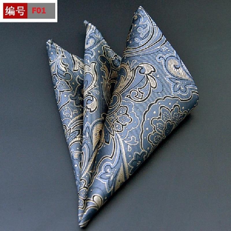 New Silk Hankerchief Scarves Vintage Hankies Men's Pocket Square Plaid Print Handkerchiefs Export 25*25cm