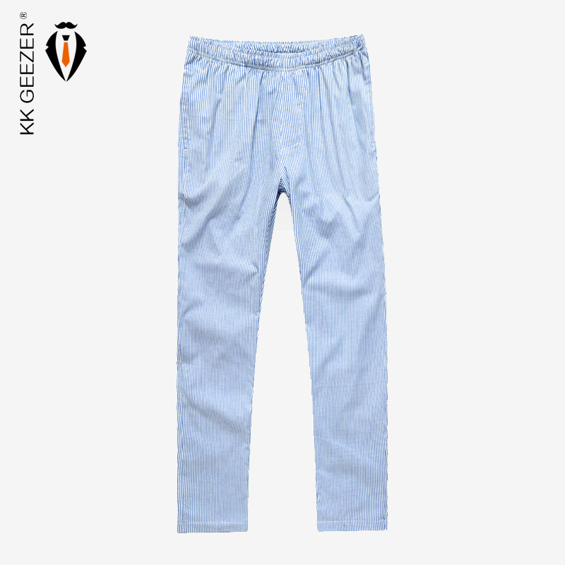 Men Sleep Bottoms Pajama Plaid Cotton Homewear Pants Comfortable Male Striped Underwear Loose Comfort Lounge Casual Trousers
