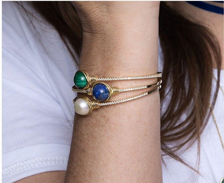 ZOZIRI marque 925 en argent sterling monaco bijoux nature malachite perle bracelet en or zircon bleu coquille boule manchette bracelet