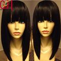 Top Quality Brazilian Virgin Short Bob Wig Glueless Silk Top Full Lace Human Hair Wigs With Bangs/Lace Front Wig For Black Women