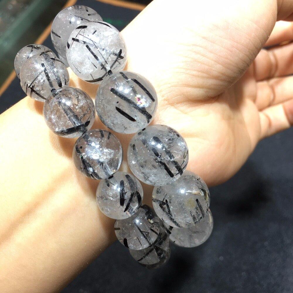 Cristal d'énergie naturel noir cheveux quartz perles bracelet noir tourmarine pierre bracelet guérison cristaux magiques