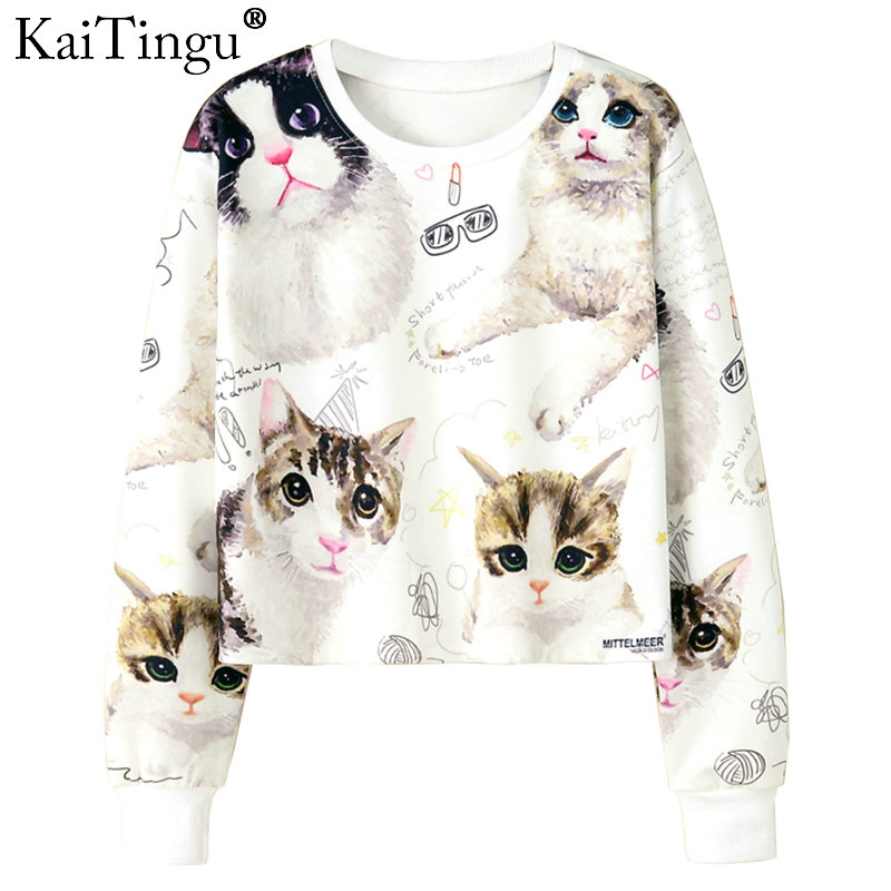 KaiTingu Women Casual Pullover Harajuku Fashion Crop Tops Long Sleeve Ladies Kawaii Cat Short Cropped Sweatshirt
