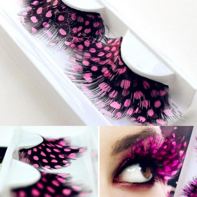 1 Pair Feather Dot False Eyelashes Party Nightclub Makeup Eye Lash Halloween Xmas Show Masquerade Natural Colorful 9 COLORS 4
