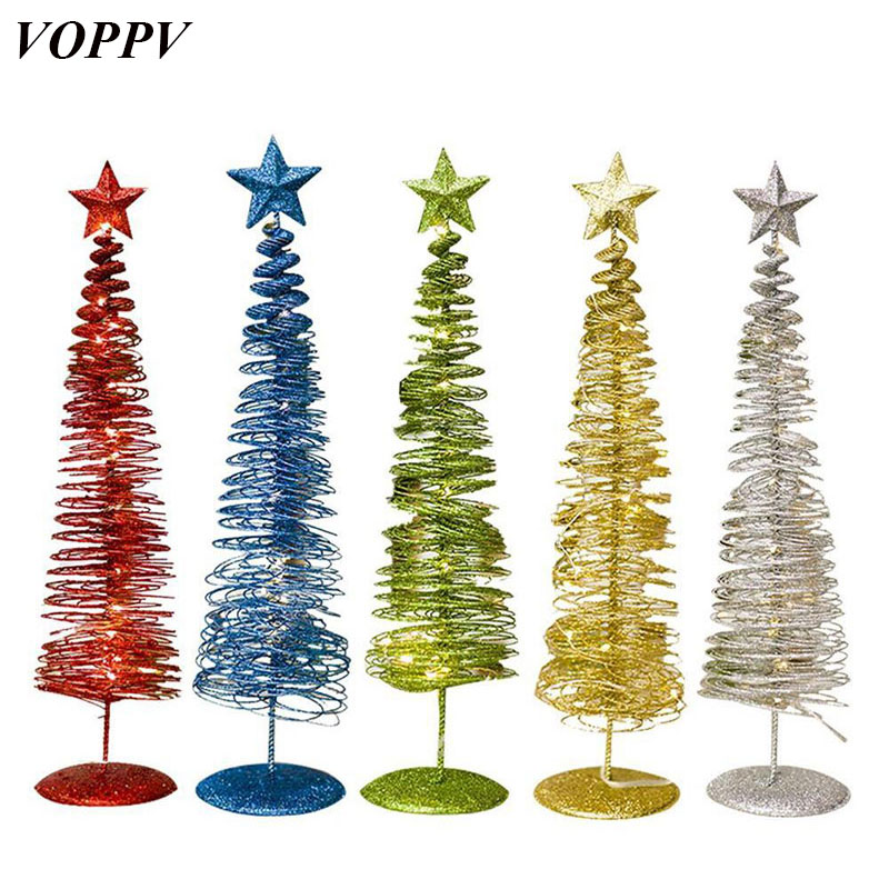 VOPPV Fairy LED Light Ornaments Christmas Tree Night Lights Outdoor for Christmas Decoration Maison Battery Christmas Tree Light
