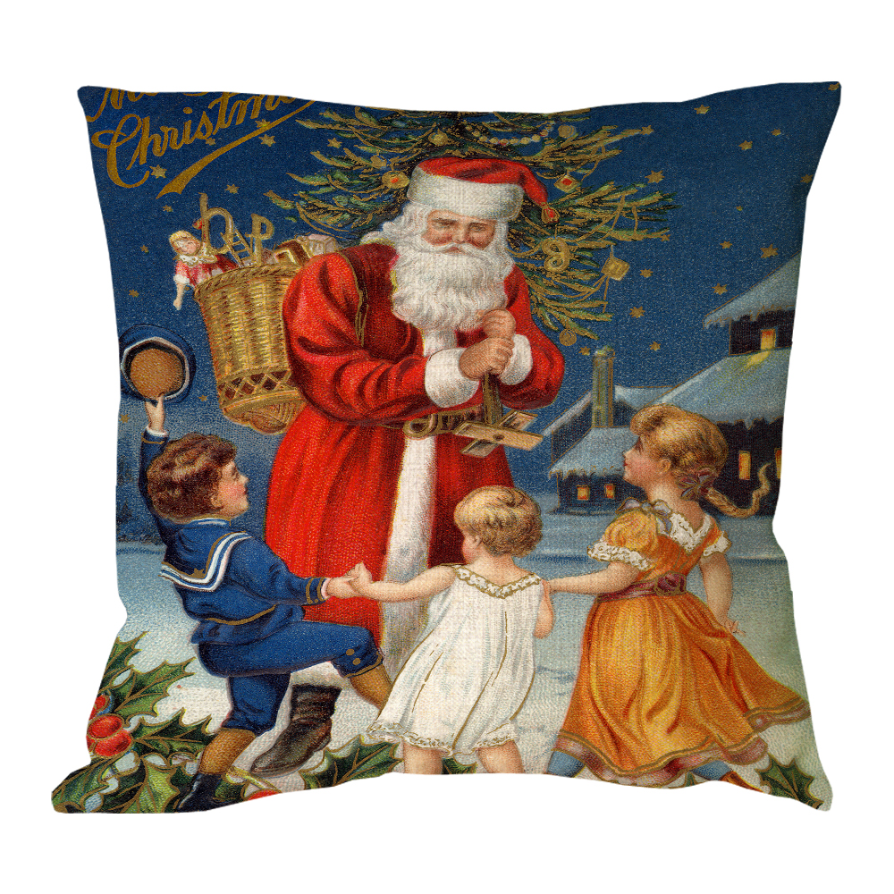 Children cheered Around Santa Claus print custom christmas linen chair bed cushions home decor sofa throw decorative pillow