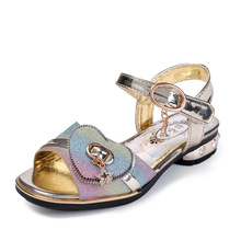 d683016824dc Summer Girls Glitter Sandals For Kids Princess Shoes PU Leather Fashion  Rainbow Low-heeled Children