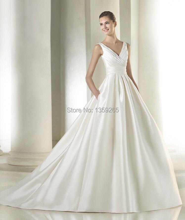 V-Neck Satin Wedding Dress
