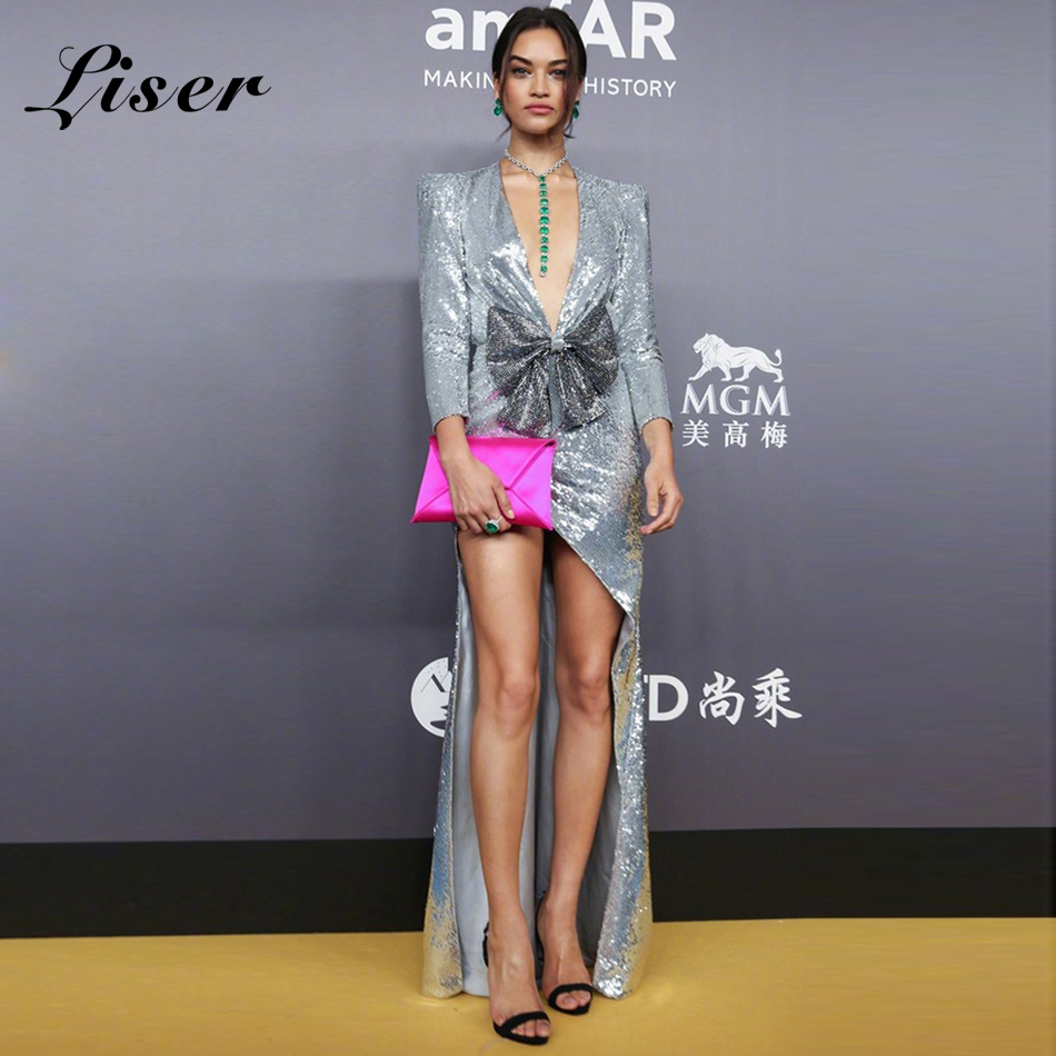 Gros Parti Paillettes Robes Moulante Arc En V 2019 Robe Argent À Soirée Summer Sexy New Élégante Femmes De Liser Col azwHqCn
