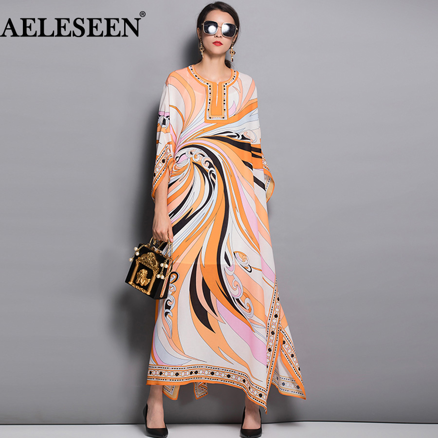 AELESEEN New Designer Dresses Women Autumn 2018 Runway Batwing Sleeve Vintage Printed Split XXL Elegant Maxi