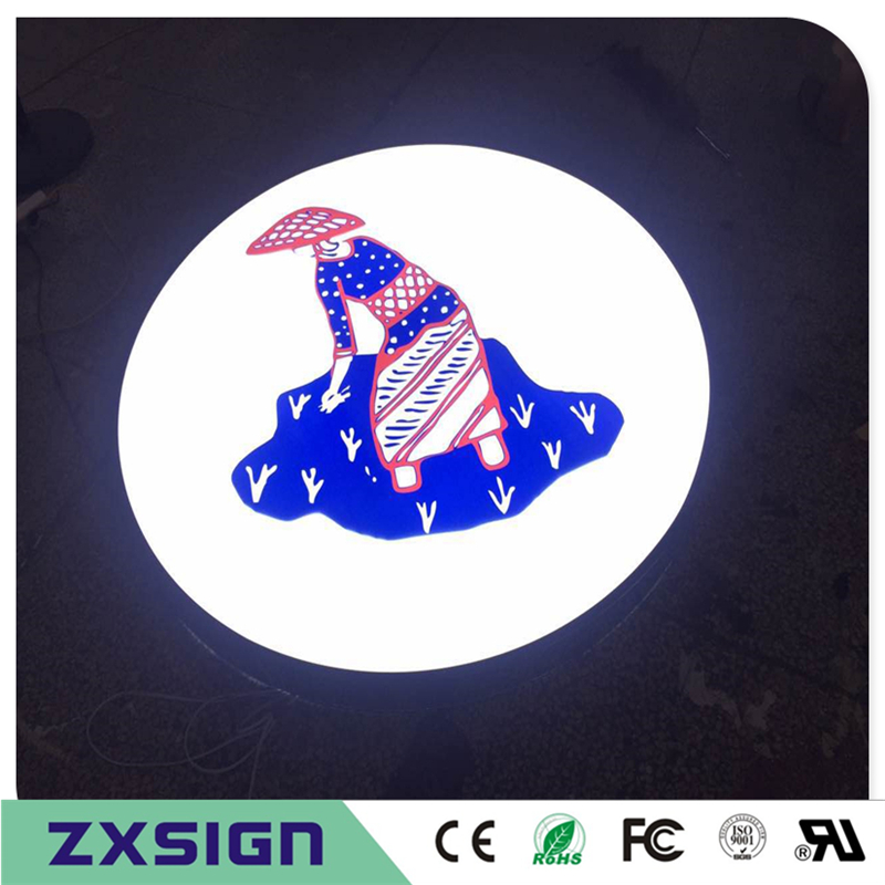 Custom Outdoor Advertising Front Lit Acrylic Channel Logo With UV Color Printing, Acrylic Lightbox For Company Logo Signs