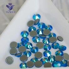 YANRUO 2058HF Capri Blue AB 1440pcs Blue Stones Hot Fix Grey Glue Flatback Rhinestones Stones For Wedding Dress