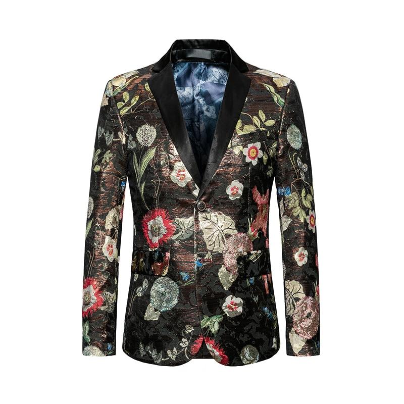 2019 Newest Men Flowers Printed Blazer Slim Fit 4XL 5XL 6XL Mens Stage Wear Prom Blazer Jacket 2 Buttons Clothes for Men #818