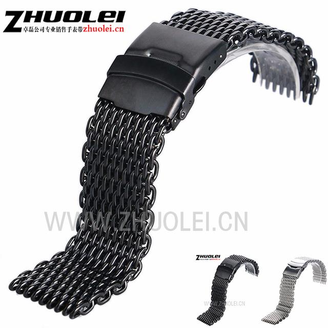 22mm 24mm PVD preto dos homens de prata de aço inoxidável pulseira Milan malha pulseira de Alta Qualidade para B-r-e-eu-t-l-i-n-g relógios banda