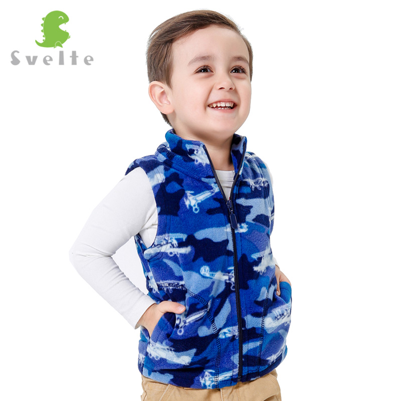 Svelte Brand for Spring Autumn Children Kids Boys Fleece Vest Sweater Waistcoat Sleeveless Jacket Print Cartoon Patterns Clothe