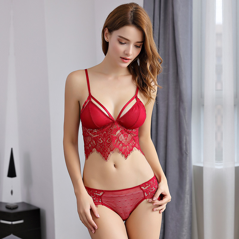fd1e71bfae7a 2018 New Women Lace Bralette Set Sexy Lingerie Seductive Ultrathin Seamless  Bra And Transparent Panties Triangle Cup Underwear