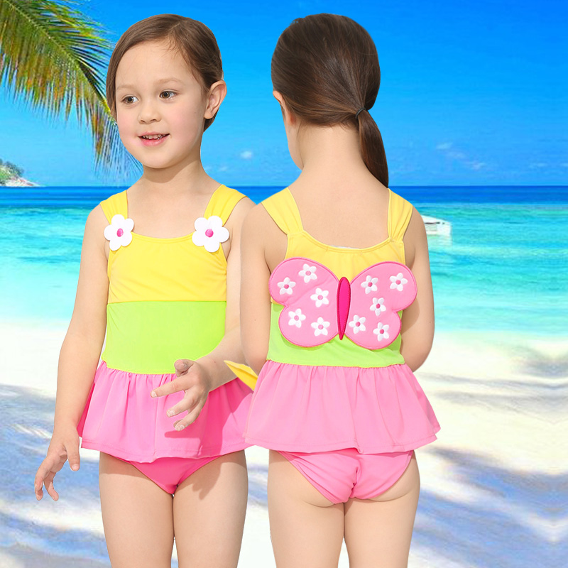 top-rated original official great prices 2 6y girl one piece swimsuit for children2018 lovely ...
