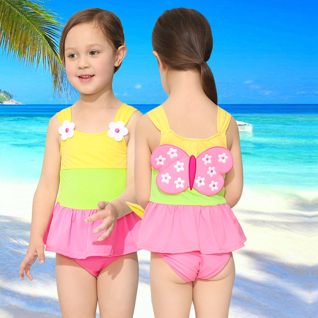 2 6y Girl One Piece Swimsuit For Children2018 Lovely Butterfly Style Little Girls Swimwear With Skirt Kid Bathing Suit