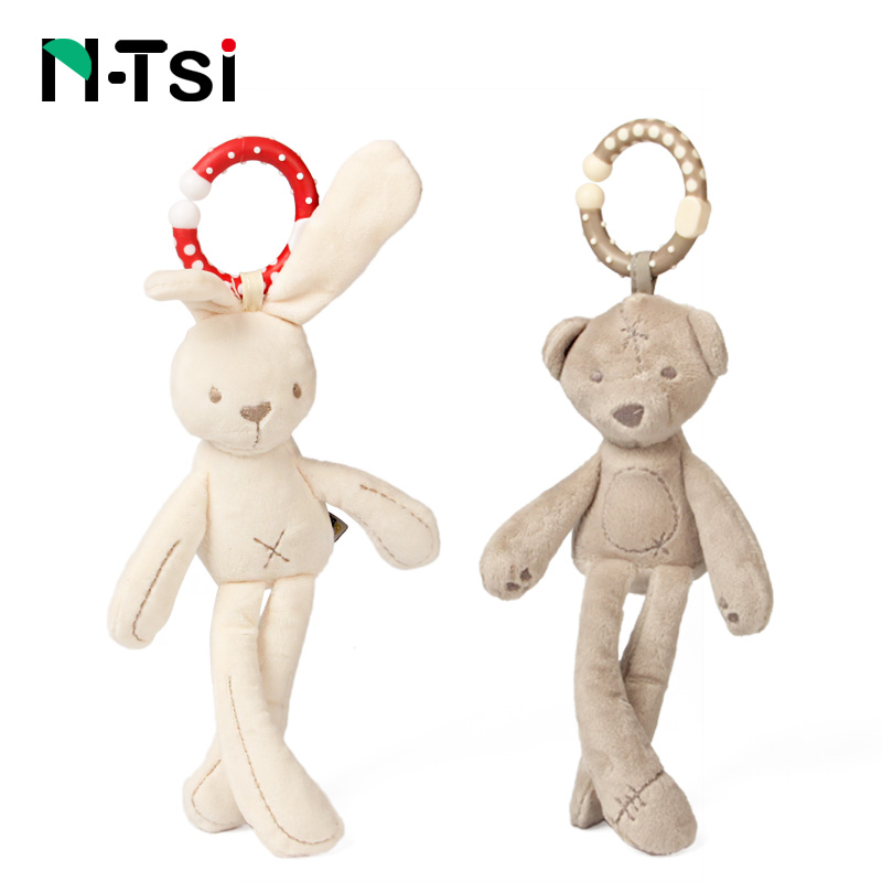 N-Tsi Super Soft Bunny Bear Hanging Bell Hand Baby Rattle Plush Stuffed Activity Crib Stroller Toys For Children Kids Gift